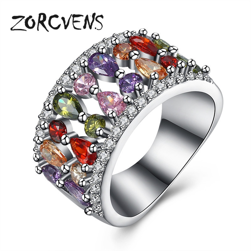Hypoallergenic Wedding Rings: Aliexpress.com : Buy ZORCVENS Colorful Cubic Zirconia Ring