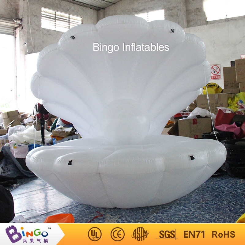 White inflatable sea shell with pearl Air clamshell balloon ocean theme model Dia 2 MetersWhite inflatable sea shell with pearl Air clamshell balloon ocean theme model Dia 2 Meters