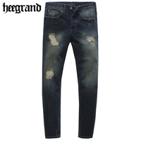 HEE GRAND 2017 New Spring Fashion Man Straight Destroyed Jeans Homme Retro Men's Denim Trousers MKN900