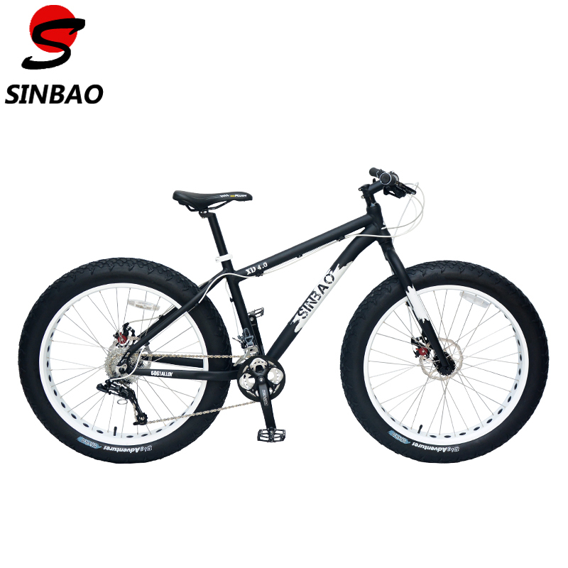 SINBAO Top Qualtiy 26 Snow Bike, 4.0 Wide Tyre,Aluminum Alloy Frame, Sram Derailleur + BB5 Disc Brakes,21 Speeds. XD 4.0
