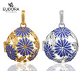 Eudora Harmony Ball Purple Flower Gold Plated Locket Pendant Pregnant Women Angel Caller Floating Hollow Cages Pendants Jewelry
