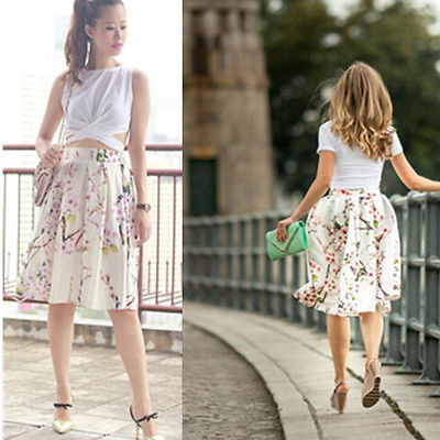 0fcce445c 2016 Vintage Retro Floral Printed Women Skirts Midi Knee Length High Waist  Pleated Bubble Skirt-in Skirts from Women's Clothing on Aliexpress.com    Alibaba ...
