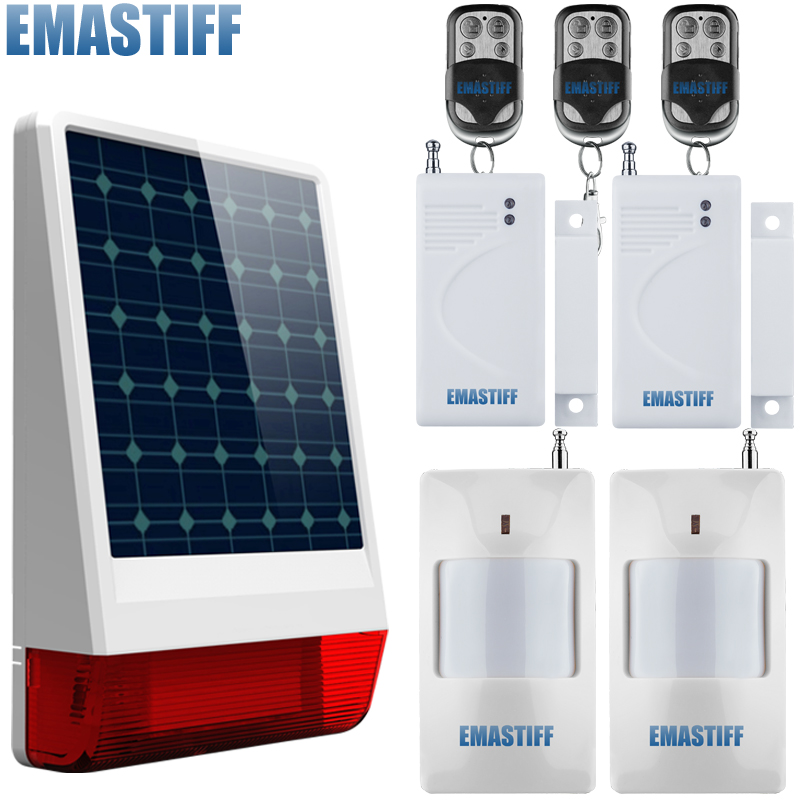 High quality Solar Spot Alarm System kit 433MHz Wireless outdoor siren with bright flash to make powerful warning high quality solar spot alarm system kit 433mhz wireless outdoor siren with bright flash to make powerful warning