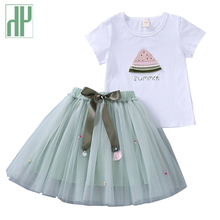 Toddler girls summer clothing Sets T-shirt+girl princess flower skirts 2pcs Outfit Green Print Kids Clothes Sport Suit 3-10Years