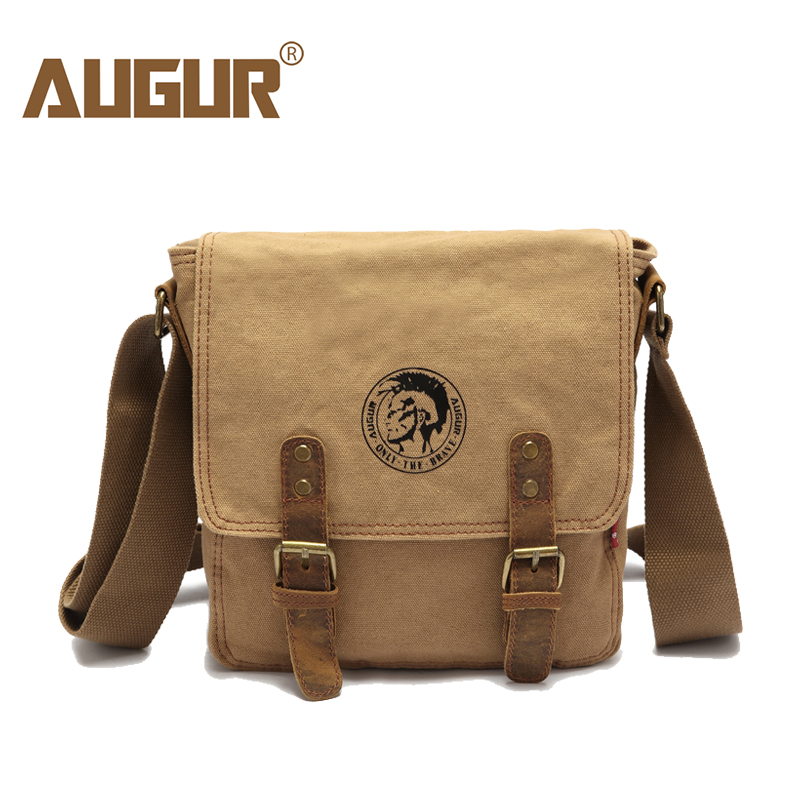 AUGUR 2017 Fashion Men Shoulder Bag Vintage Canvas Shoulder Bags Travel Satchel Bag male High quality Small Crossbody Bags aosbos fashion portable insulated canvas lunch bag thermal food picnic lunch bags for women kids men cooler lunch box bag tote