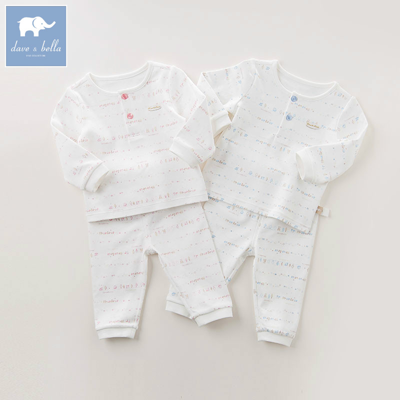 DB6062 dave bella autumn baby sleepwear infant toddle pajamas printed 100% cotton sleepwear children pajamas set mother nest 3sets lot wholesale autumn toddle girl long sleeve baby clothing one piece boys baby pajamas infant clothes rompers