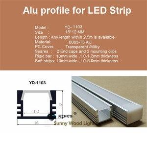 Image 3 - 40 m/lote, 20 piezas de 2m ,80 Perfil de aluminio led inch/pc para tira de 8 11mm, canal led para cinta 5050,5630,3528, pista de luz de barra led
