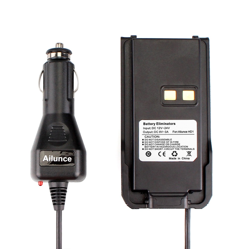 Car Charger Battery Eliminator 12V-24V For Ailunce HD1 Dual Band DMR Digital Radio Walkie Talkie