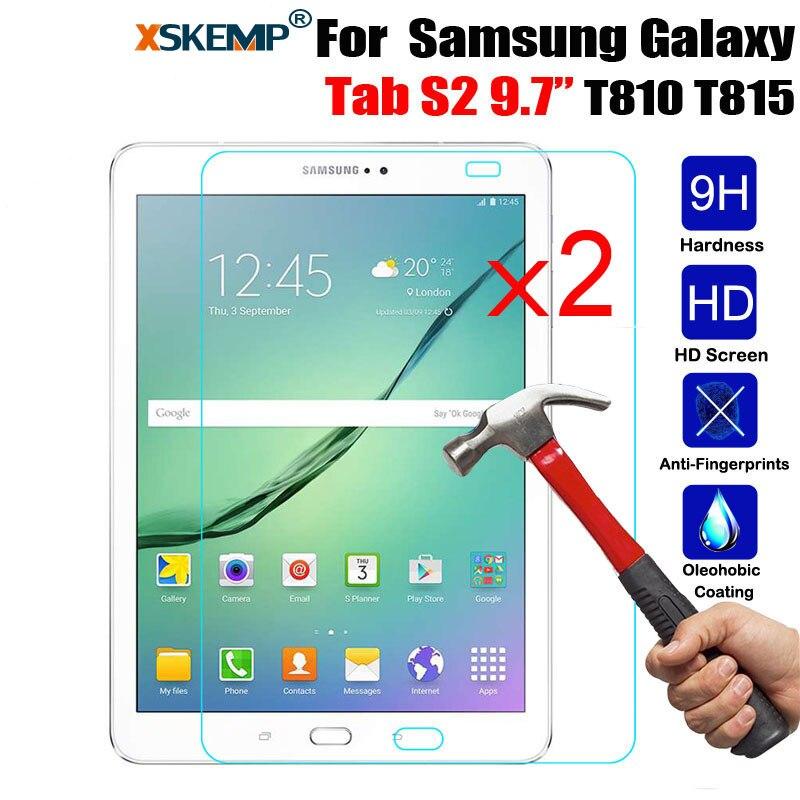 XSKEMP 2 Pz/lotto 9 H Vetro Temperato Protezione Dello Schermo Per Samsung Galaxy Tab S2 9.7