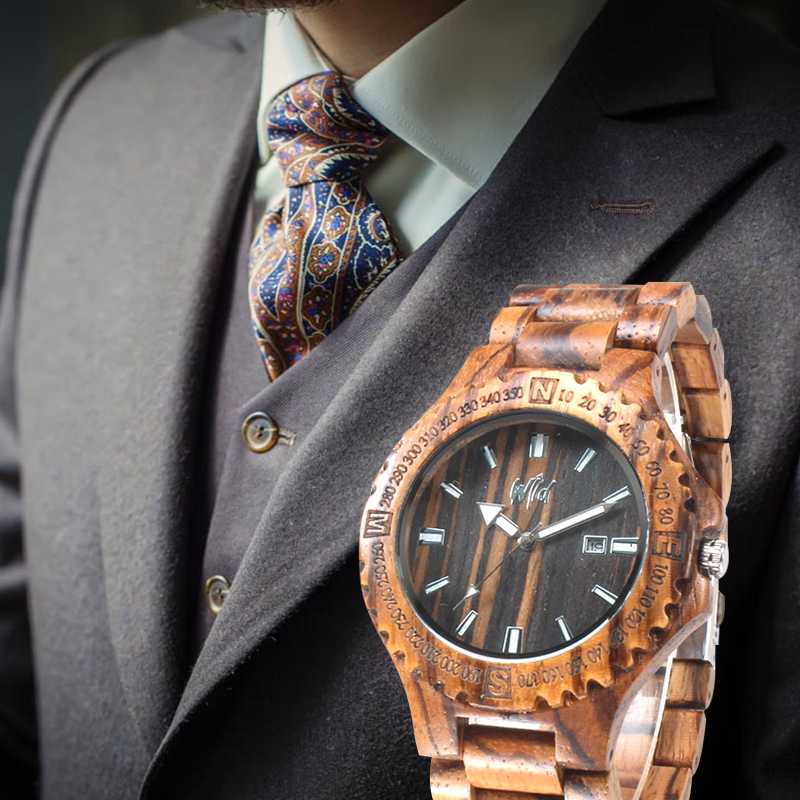 купить Zebrawood Watch Men Zebra Wood Watch Japan Miyota Movement Wristwatch Wooden Man Wrist Watch erkek kol saati онлайн
