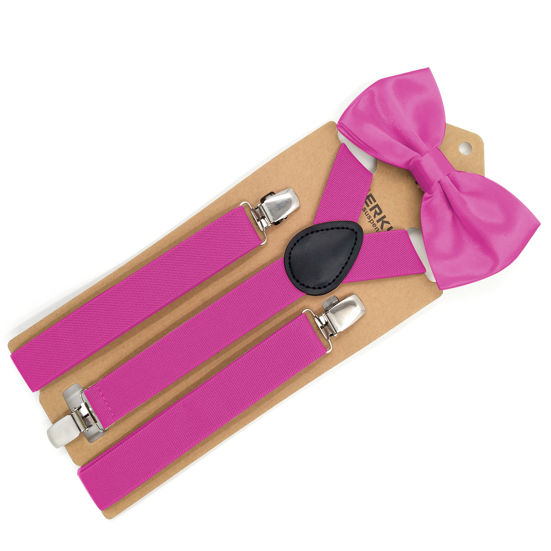 Mens Bright Pink Adjustable Braces Suspenders Wedding