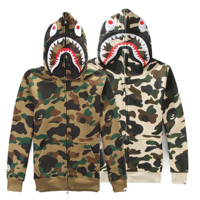 57214cfac17f jaqueta masculina Brand Bape Shark Hoodies Camouflage Autumn And Winter  Sweatshirts Fleece Jacket Bape Shark camo Hoodie men