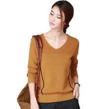 2017 spring summer V-neck collar Pullover solid solid with balck strip long sleeve Jumpers loose brown color sweaters for women