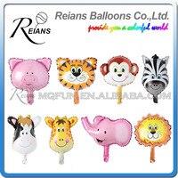 Toptan 500 adet Maymun Kaplan Zebra Geyik Inek Kafa Helyum Folyo Balonlar Doğum Günü Partisi Hayvan Hava Balonlar Hayvan Tema Parti