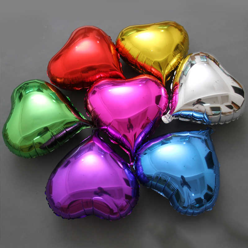 5pcs 18inch Romantic Heart Pearl Purple Pink Foil Balloons Helium Wedding I Love You Globos Party Decor Pure Color Balls