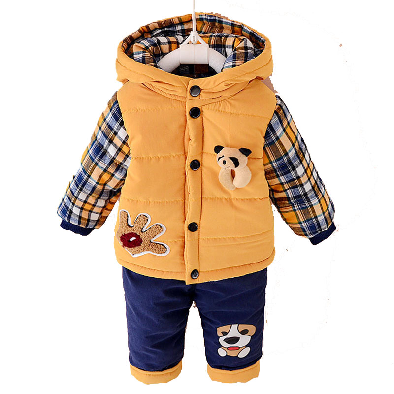 Fashion Cotton Suits Baby Cotton Velvet Thickening Children Set Padded Jacket Children' s Suits Character Clothing Sets YD035YD free shipping 2017 winter thickening children s suits baby boys and girls pentagram smiley face velvet 2pcs sets