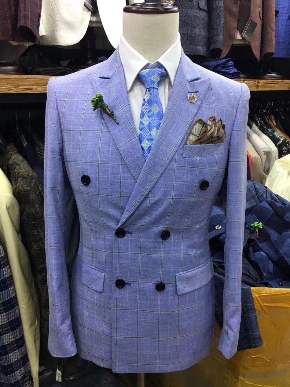21a1ec609435 Formelle Costume Smoking D'affaires Pantalon Same As Pic De same Image Fit  Blazer Revers Boutonnage Bleu Hommes ...