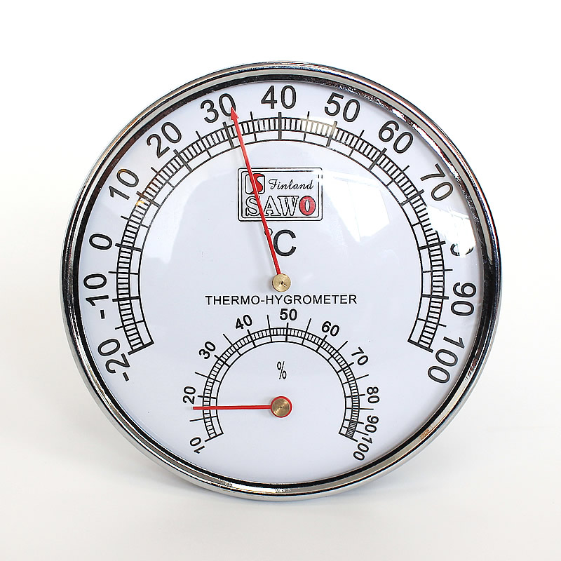 Stainless Steel Case Steam Room Thermometers Hygrometer Bath Sauna