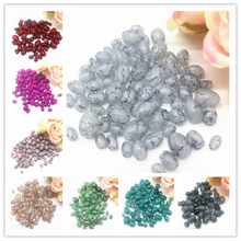 4mm-11mm 20g mixed packaging 34 colors, Oval Rugby Glass Beads Pattern Spacer Loose Jewelry Making Wholesale