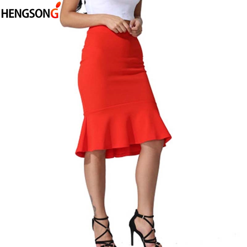 Summer Fashion Women High Waist Mermaid Skirt Solid Color Large Size Knee Length Trumpet Skirts Lady Office Wear Skirt