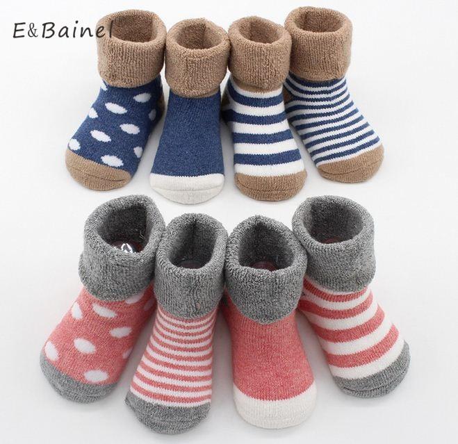4pairs Warm Winter Baby Socks Cute Soft Autumn Newborn Baby Girls Socks Stripes Dots Infant Baby Boy Shoe Socks Children Set