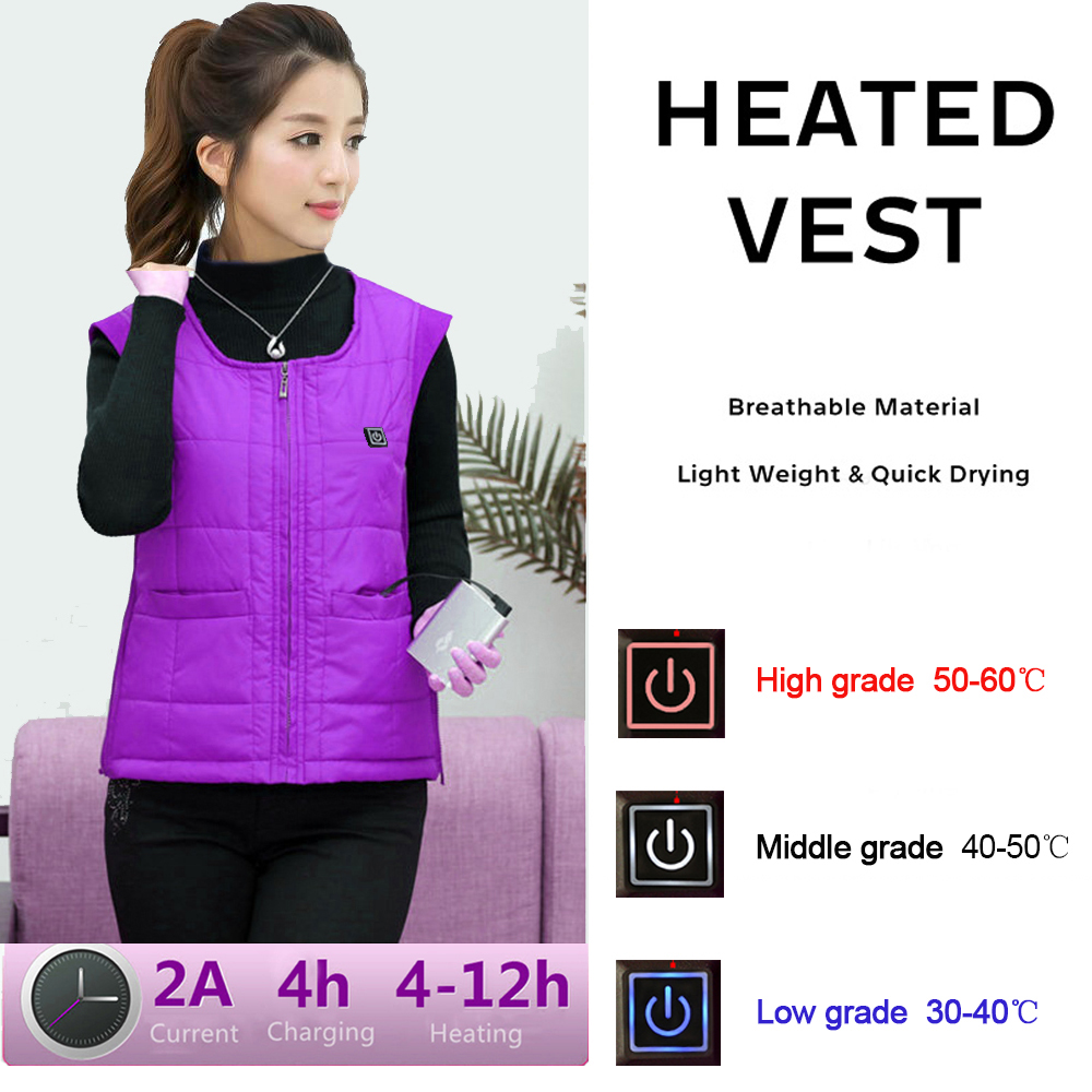 Best gift to mother camping vest usb heated vest bettery for women winter thick vest cotton 3 level size s-xxxl new heated down vest usb charging vest skiing hiking camping winter men vest down keep body warm blue black size s xxl