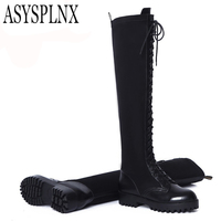 Genuine Cow Leather Lycra Black Round Toe Low Heels Fashion Thigh High Boots For Women 2014