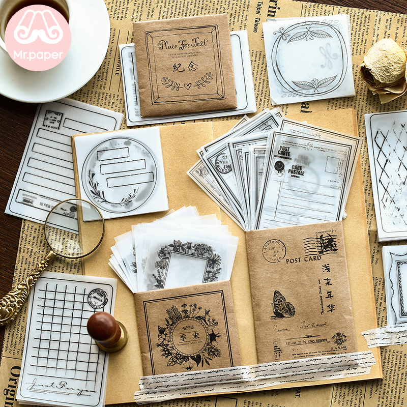 Mr Paper 30pcs/lot 8 Designs Transparent Sulfate Butter Paper Memo Pads Loose Leaf Notepad Diary Creative Writing Note Memo Pads 1
