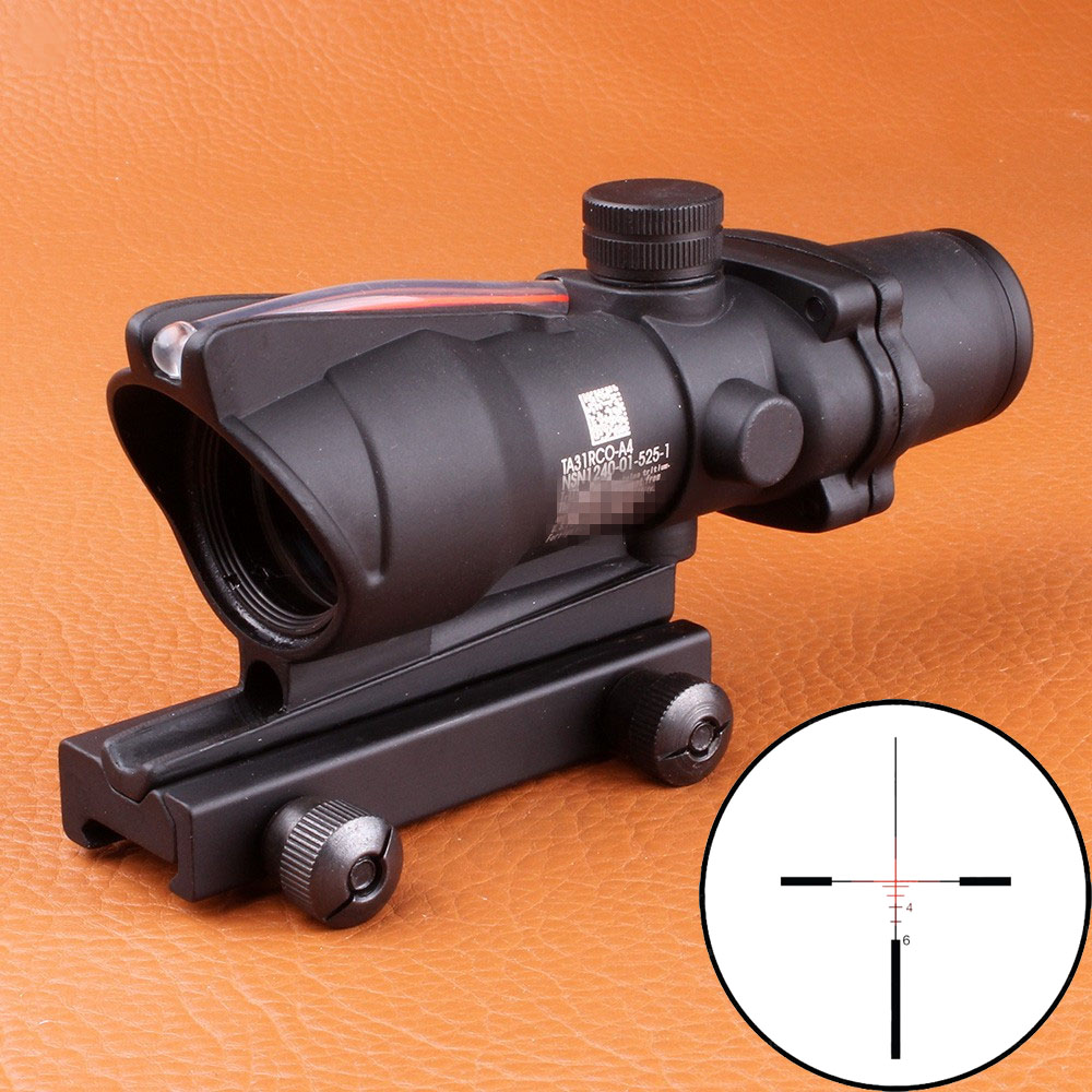 Hunting ACOG 4X32 SCOPE Fiber Source Red Green Orange Illuminated Scope Black Tan Color Tactical Riflescope