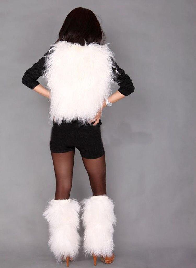 Lange haren Mongoolse lamsbont been warmer / boot topper / echte - Kunsten, ambachten en naaien - Foto 3
