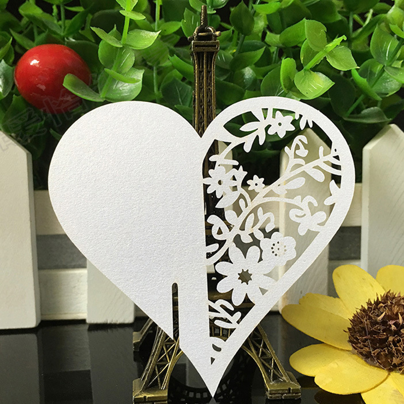 50PCS/lot Heart Shape Laser Cut Paper Place Card For Home Decor Table Name Place Escort Cup Card Party Wedding Decorations