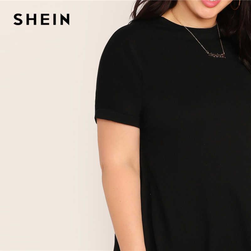 SHEIN Artı Boyutu Siyah Kısa Kollu askı elbise 2019 Kadın Bahar Yaz Katı Casual Shift Yuvarlak Boyun Temelleri Sıkı Artı Elbise