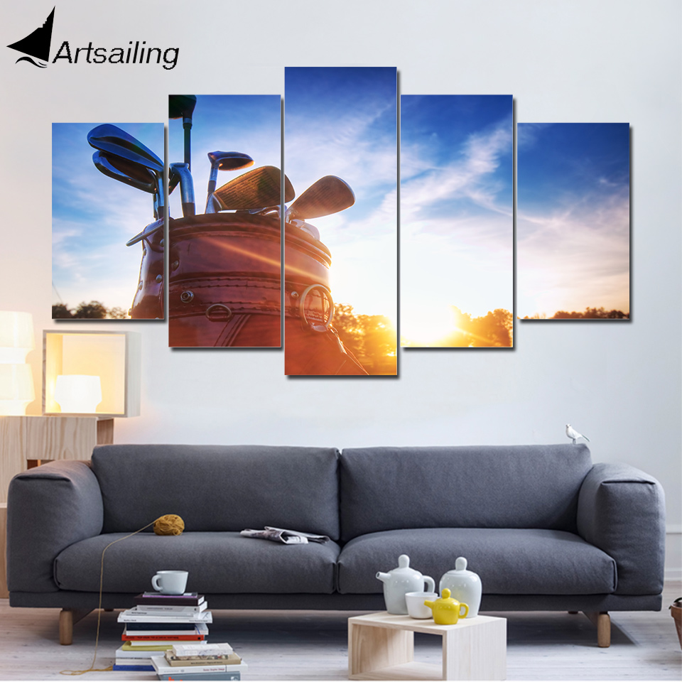 Artsailing 5 Canvas Sunny Day on Couch Picture Golf Clubs Canvas Prints Modular Sports Poster For Gym Decor Canvas Print Framed
