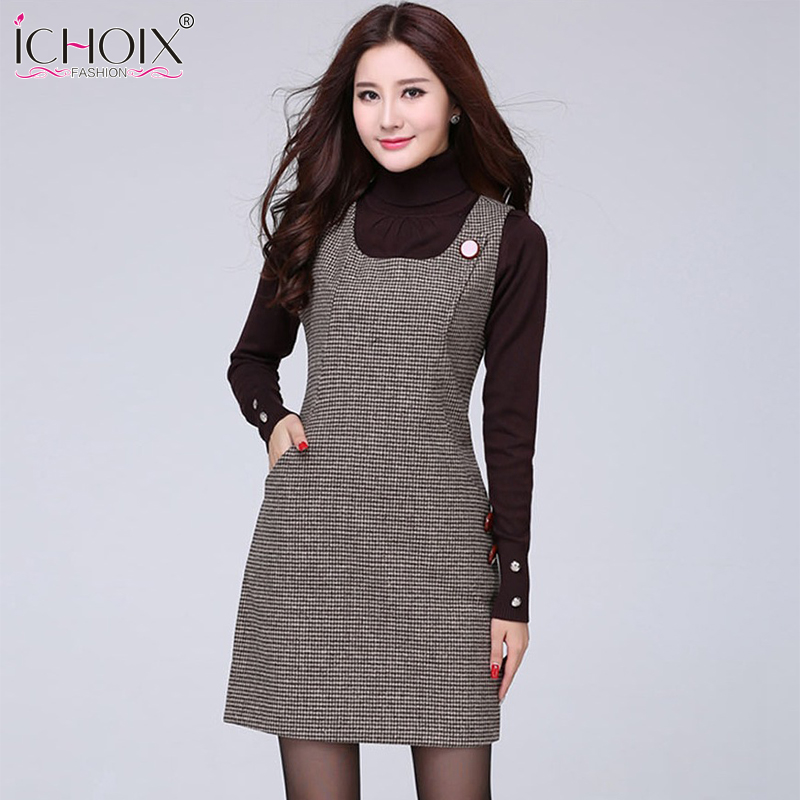 2019 Autumn Winter Woolen <font><b>vintage</b></font> Midi <font><b>Dress</b></font> New Vest Plus Size Plaid <font><b>Dress</b></font> Houndstooth Slim <font><b>Sexy</b></font> Office Women Red Gray Vestidos image