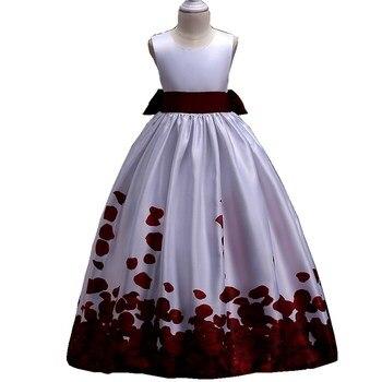 1279550dd Europea niños vestidos de boda vino rojo azul de verano de las niñas Floral  vestido de princesa ropa para niñas de edad de 5 a 13 14 15 16 años