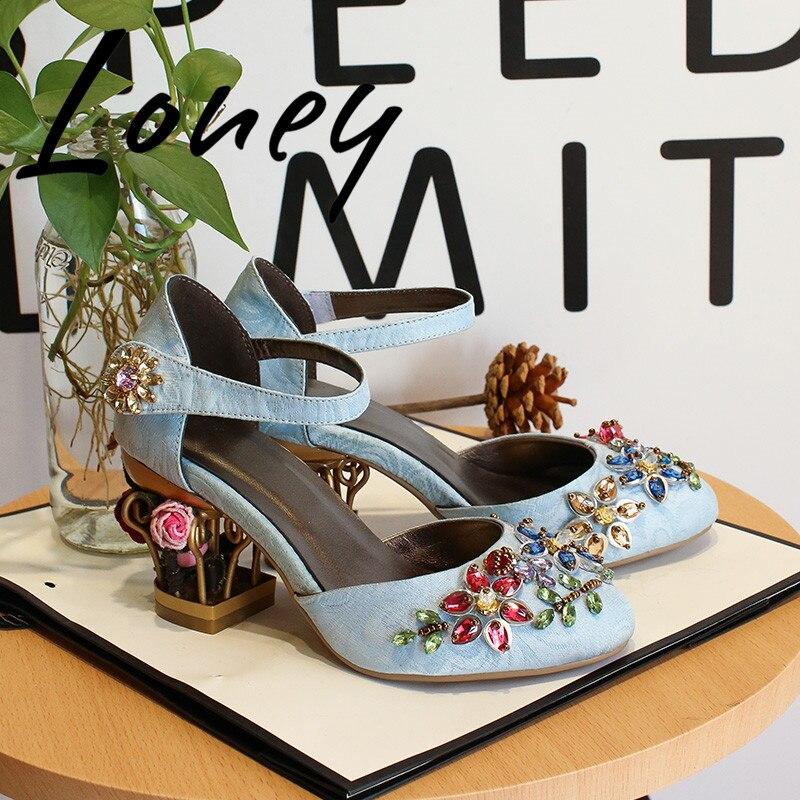 Velours Femmes Cage Pic En As Bout Pic Pompes Sandales D'été Rond Cristal Mary Jeans Nouveau Talon Floral Printemps as Bijou Loney wqPXETU