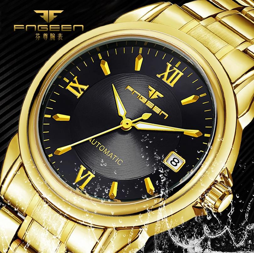 Tourbillon Gold órák férfi 2019 híres márka luxus férfiak mechanikus óra acél vízálló naptár karóra automatikus nézni