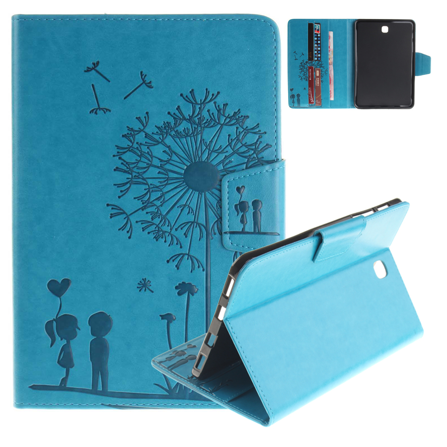 For Samsung Galaxy Tab S2 8.0 T710 Case Emboss Dandelion PU Leather Wallet Flip Folio Cover Case for Samsung TabS2 8.0 T710 T715 new pu leather flip stand wallet cover case spell colour card slot case cover for samsung galaxy tab s2 8 0 t710 t715 t719 cases