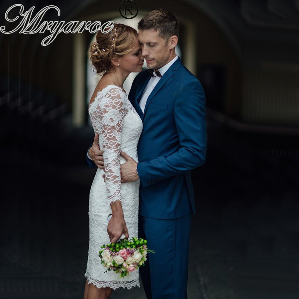 Mryarce 2019 French Lace Short Wedding Dress With Sleeves Scoop V-back Knee Length Bridal Gowns