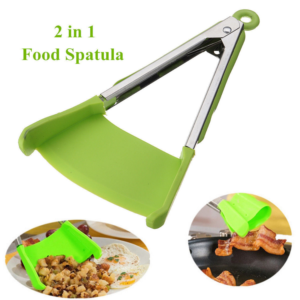 New 2 in 1 Smart Kitchen Spatula and Tongs Non Stick Heat Resistant Stainless Steel Frame Silicone Tongs Kitchen Gadget Tongs     - title=