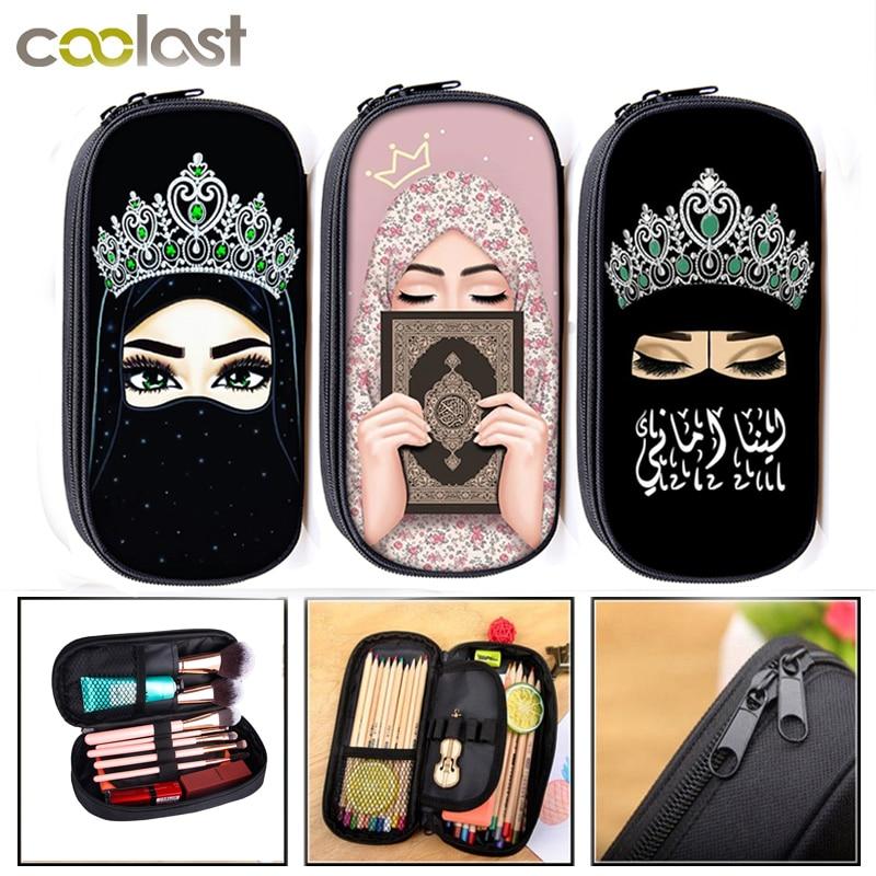 Hijab Face Muslim Islamic Gril Eyes Cosmetic Cases Girls Pencil Holder Women Makeup Bag Kids Pencil Bag School Supplies Gift