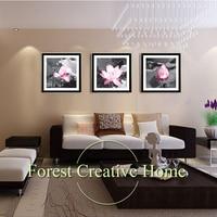 غرفة المعيشة الحديثة البوذية الإيمان اللوتس ومع ثلاثة الصورة ديكور المنزل الفن الجدار قماش اللوحة فن الزهور الصورة طباعة