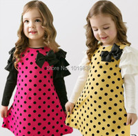 5pcs Lot Causal Dress Children Girl Princess Polka Dot Dress Long Puff Sleeve Dress Toddler Girls