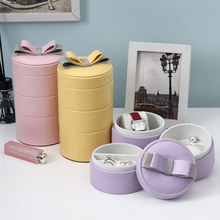 CASE GRACE Bowknot PU Jewel Case Candy Color PU Travelling Jewelry Box Multideck Rings Storage Box Free Shipping(China)
