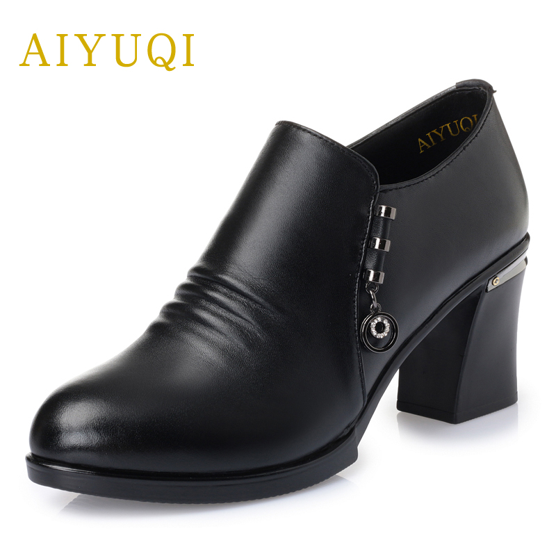 AIYUQI 2018 new genuine leather women's shoes spring fashion high-heeled shoes deep mouth with a single shoes mother shoes women women crude with a single shoe shallow mouth high heeled shoes 2018 new fashion lady shoes for women high heeled shoes spring 39