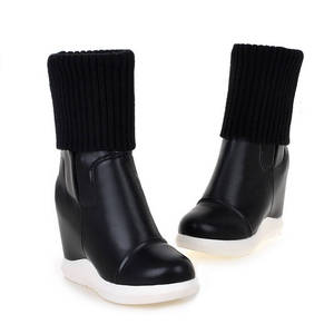 Image 2 - MORAZORA 2020 new style round toe mid calf boots women slip on Stretch boots comfortable wedges shoes woman autumn winter boots
