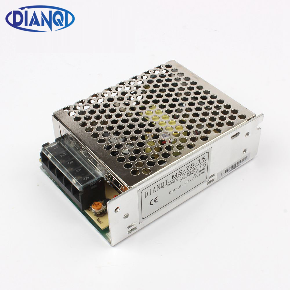 DIANQI power supply 75W 5V 12V 15V 24V 15A 6.3A 5A 3.2A mini size ac dc converter power supply unit dc voltage regulator image