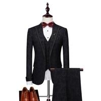 2018 Men Suit Black Wedding Groom Tuxedos 3 Psc Groomsman Suit Blazer for Men Suits Designers with Pants(Blazer+Pants+Vest)