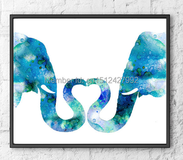 New free shipping Modern Home Decoration Abstract Wall Art picture Blue Elephant Love canvas Print oil