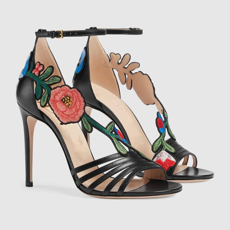 oro Tacón Alto De Mujer Bordado Sandales Garras Pictures More Flor 2019 Verano Follow Zapatos Stiletto negro Sandalias Haut TqxwgwB